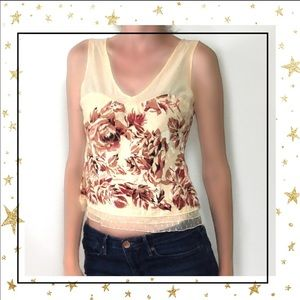 Odille cream Floral sleeveless cropp tank top (C2)